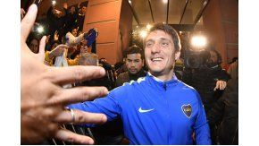 Pura felicidad en la sonrisa de Guillermo al salir a saludar a los hinchas