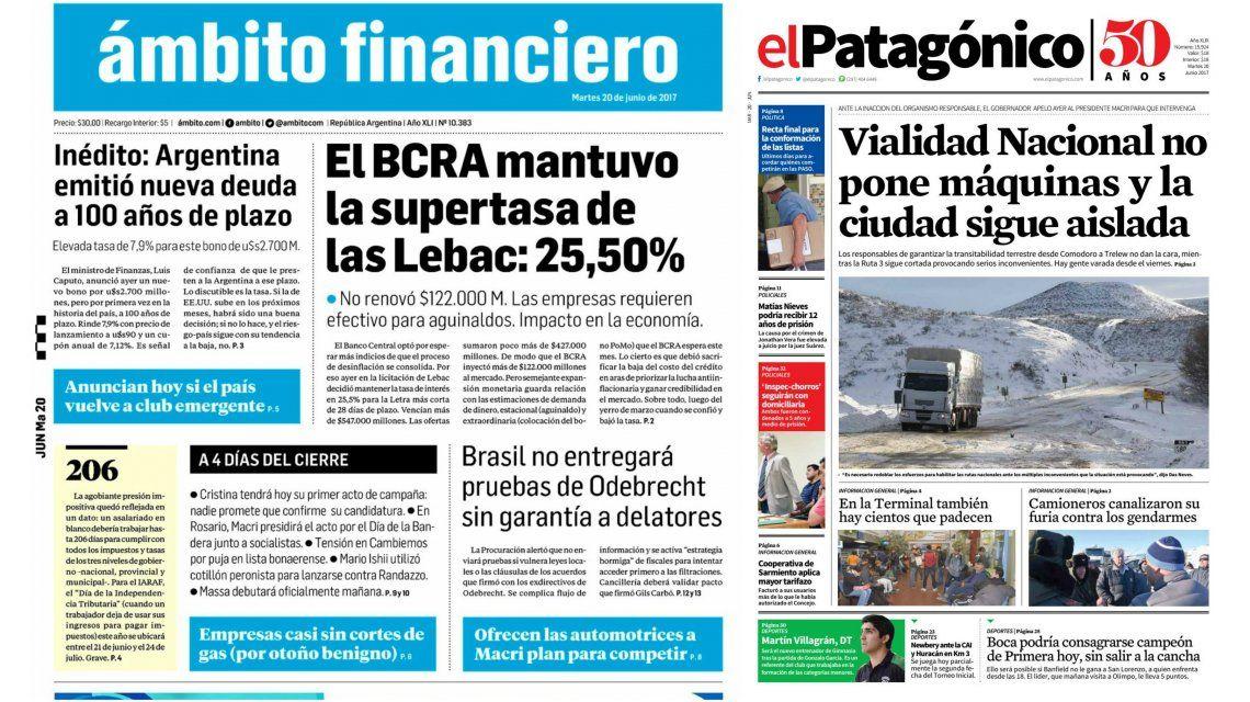 Tapas de diarios del martes 20 de junio de 2017