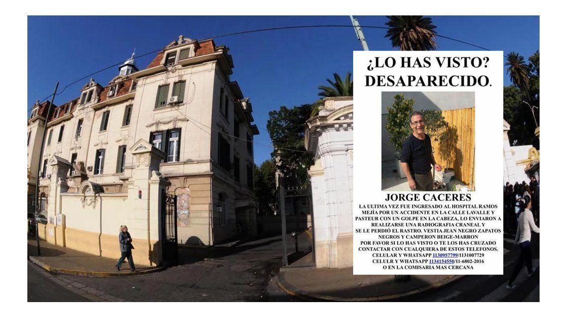 Jorge Cáceres fue encontrado en el hospital Piñero