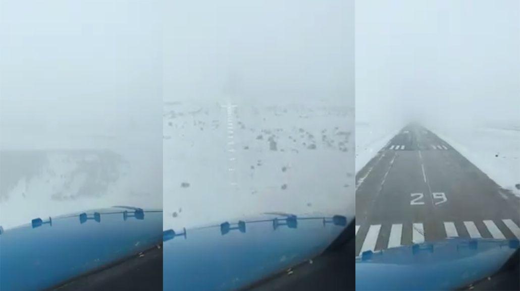 Impresionante aterrizaje en la nieve