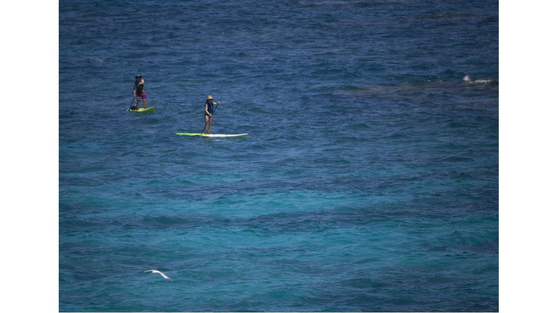Visitantes hacen paddle board en el parque Church Bay