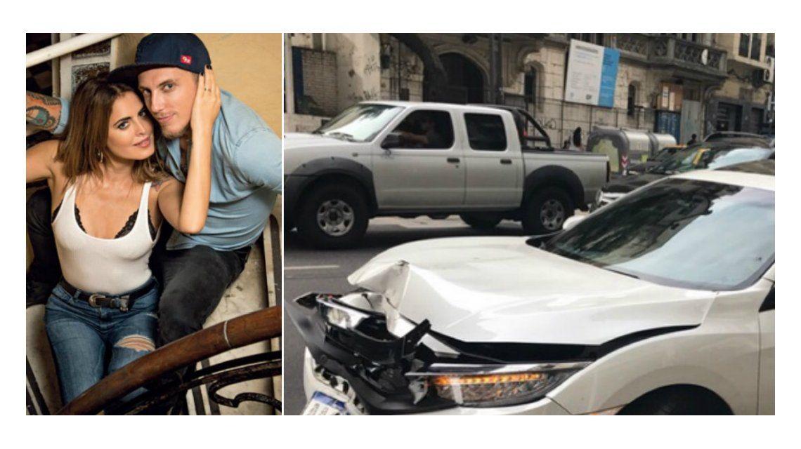 Así quedó el auto de El Polaco y Silvina Luna tras el choque.