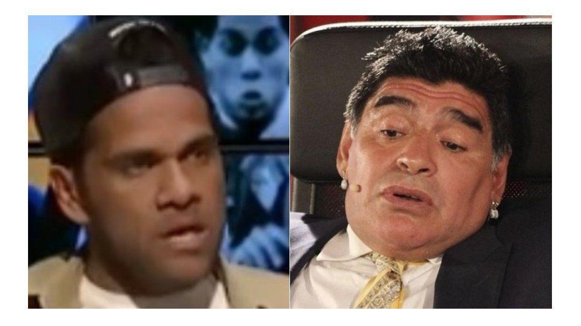 Dani Alves le pegó a Maradona