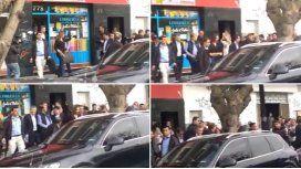 Mauricio Macri en el momento del escrache en Tigre