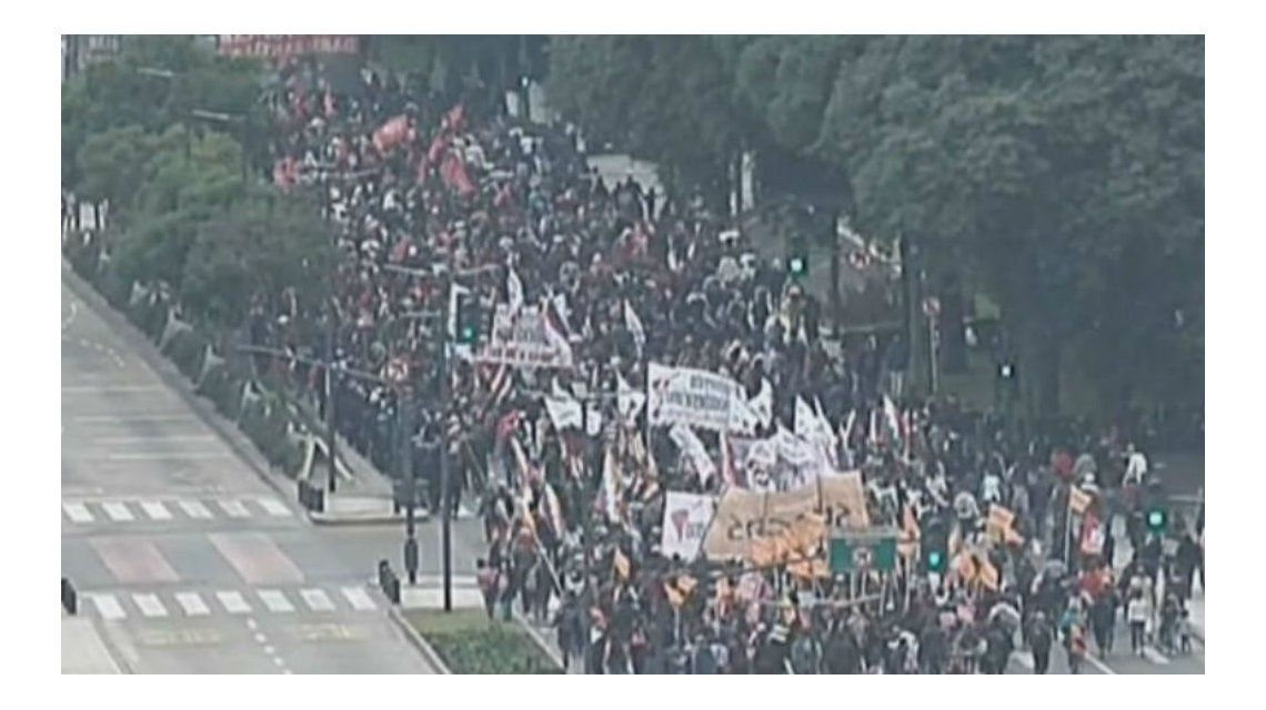 Así está la manifestación en 9 de Julio