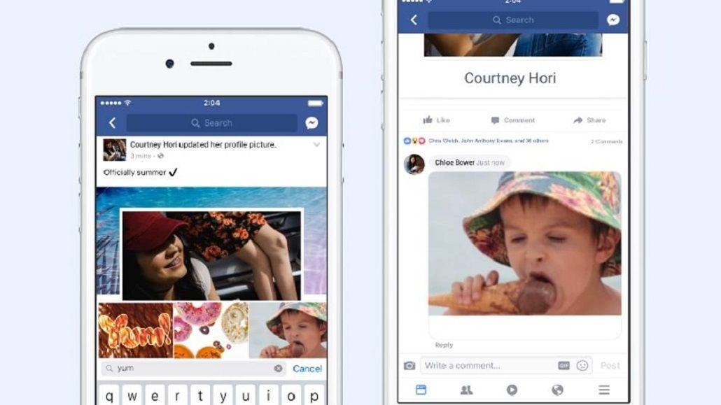 Facebook agrega los GIF a los comentarios