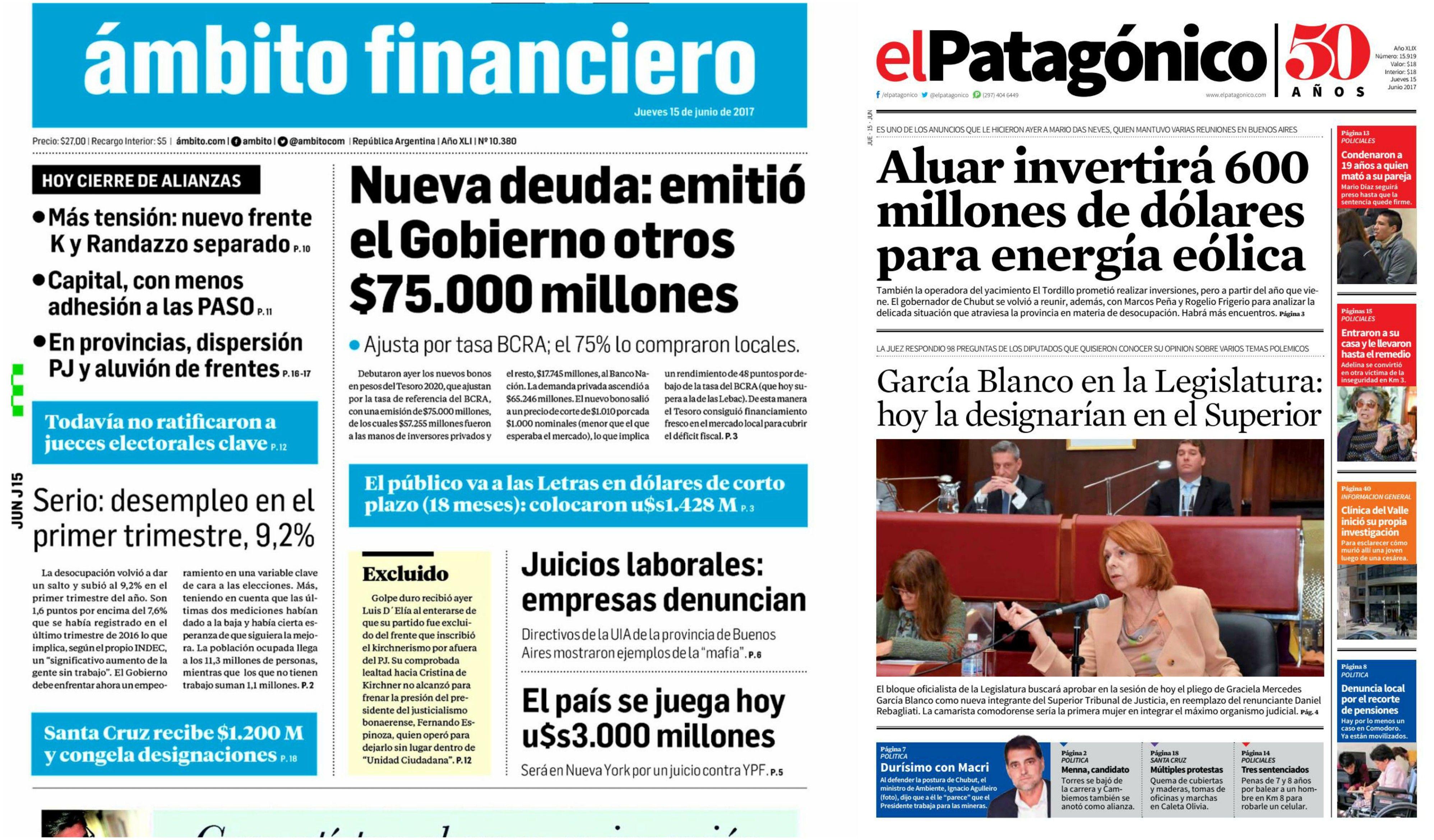 Tapas de diarios del jueves 15 de junio de 2017