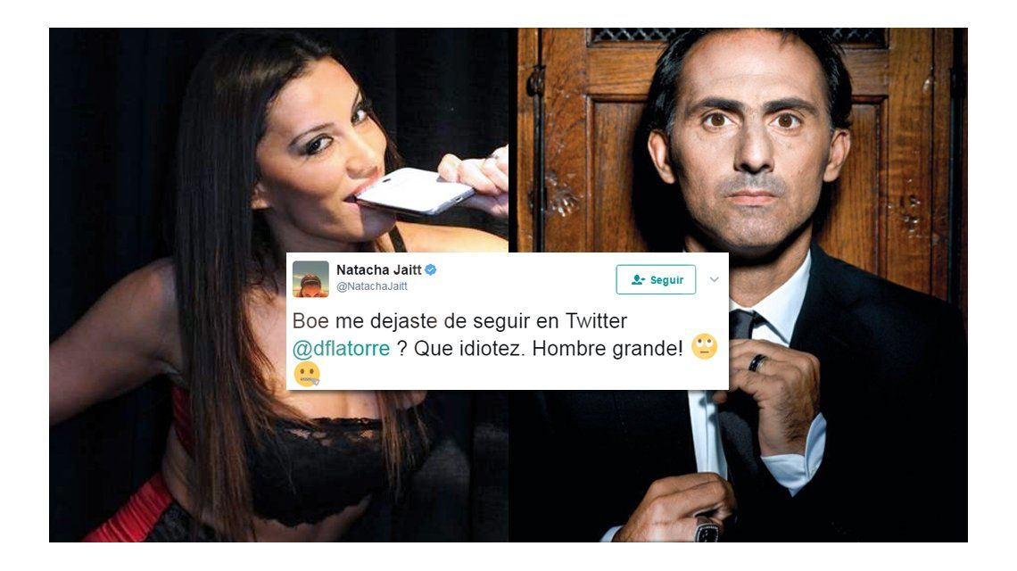 Diego Latorre dejó de seguir en Twitter a Natacha Jaitt y ella le mandó un mensaje