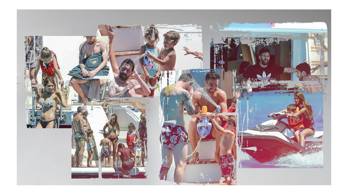 Messi y su familia en Ibiza antes del casamiento.