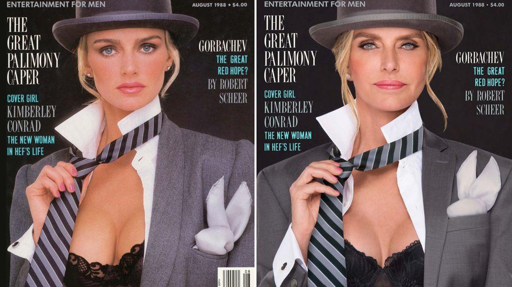 Kimberly Conrad Hefner, portada en 1988<br>