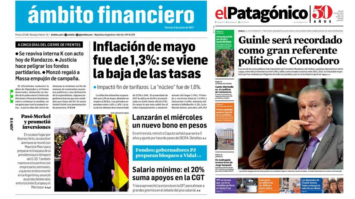 Tapas de diarios del viernes 9 de junio de 2017