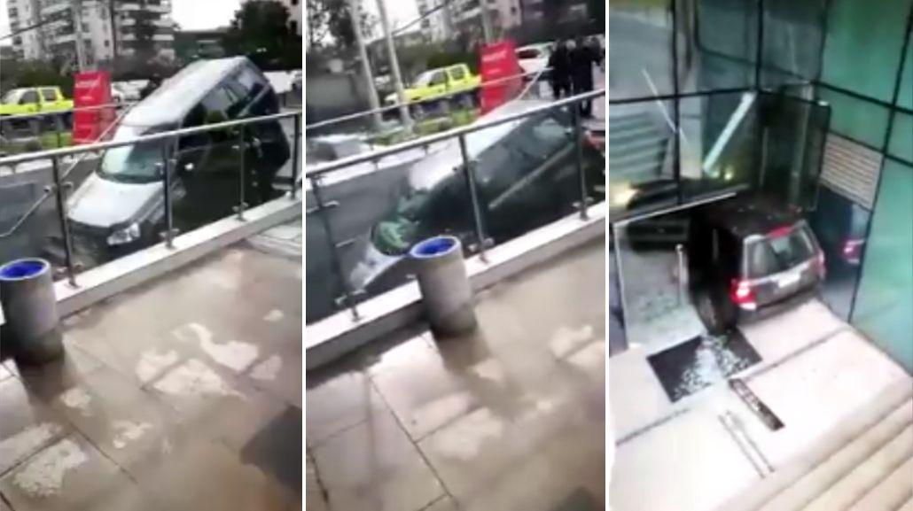 Insólito accidente: confundió una escalera con la entrada de un estacionamiento