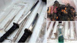 El hombre amenazó a su ex con katanas y una bomba molotov
