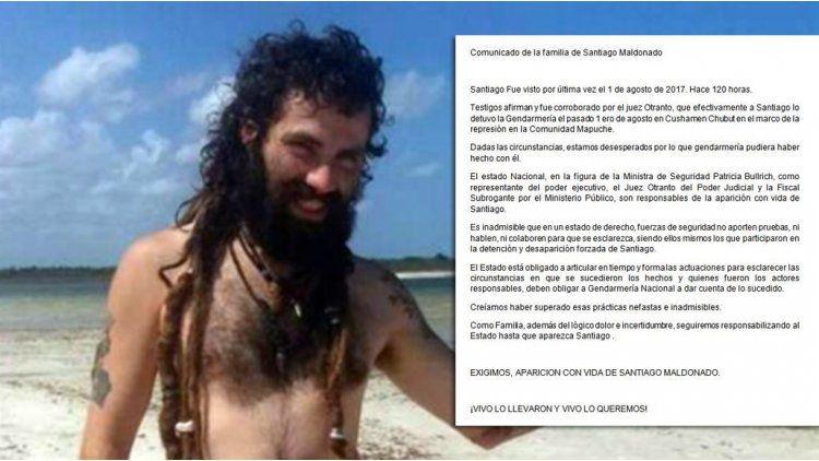 El comunicado de la familia de Santiago Maldonado
