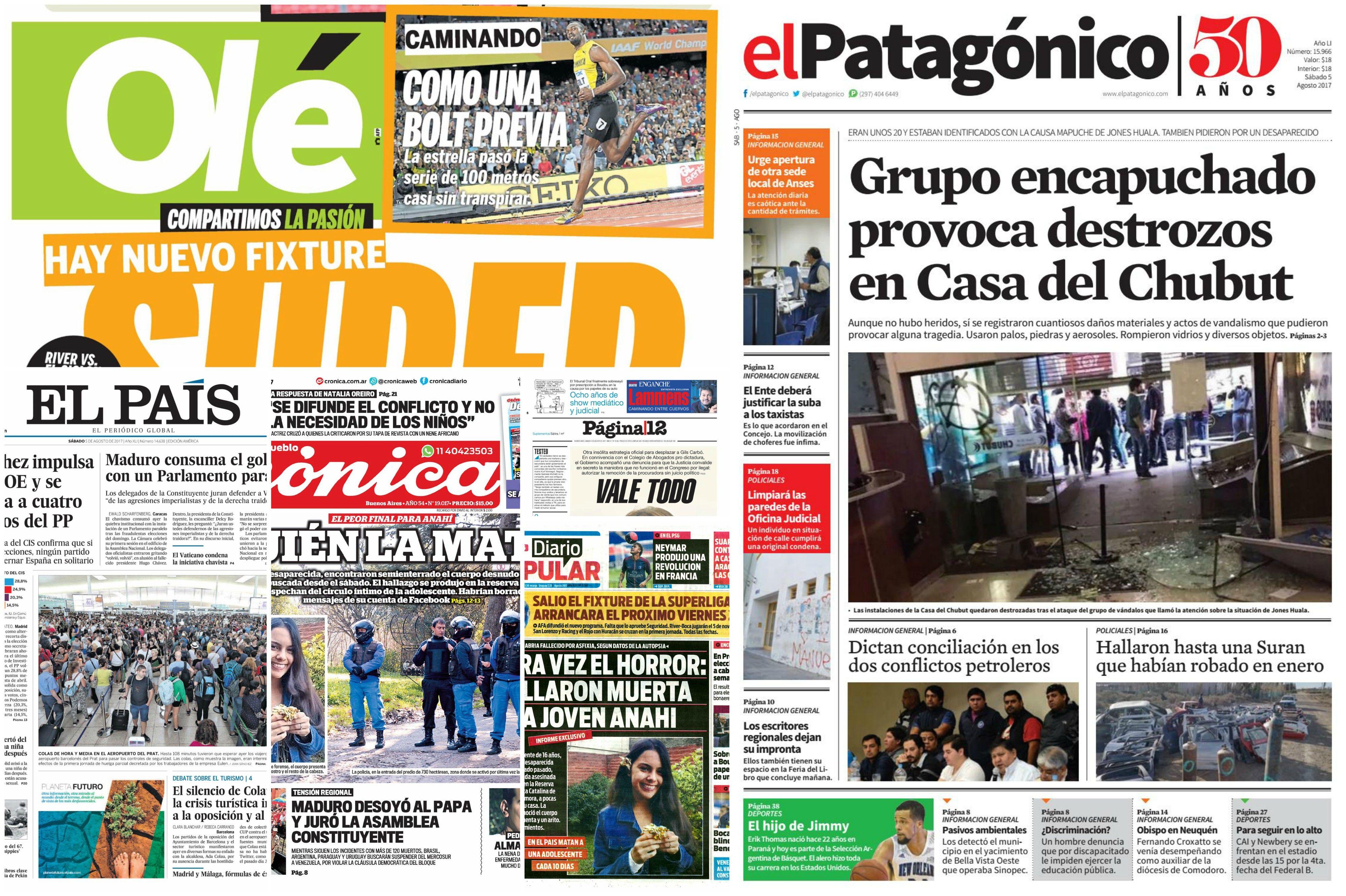 Tapas de diarios del sábado 5 de agosto de 2017