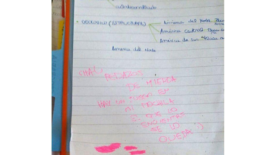La Plata: la imagen de la carta que dejó la joven antes de dispararse