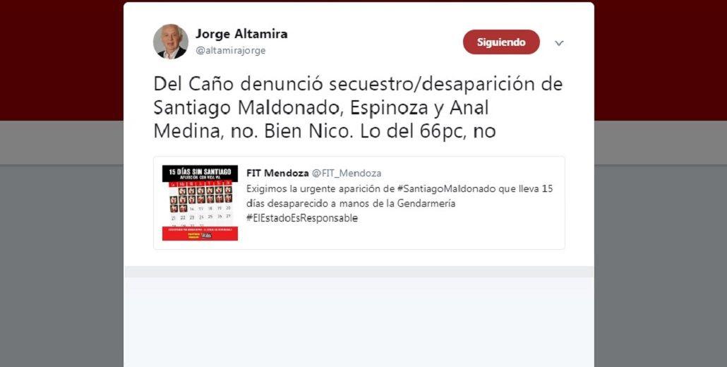 El tuit con el error de Jorge Altamira