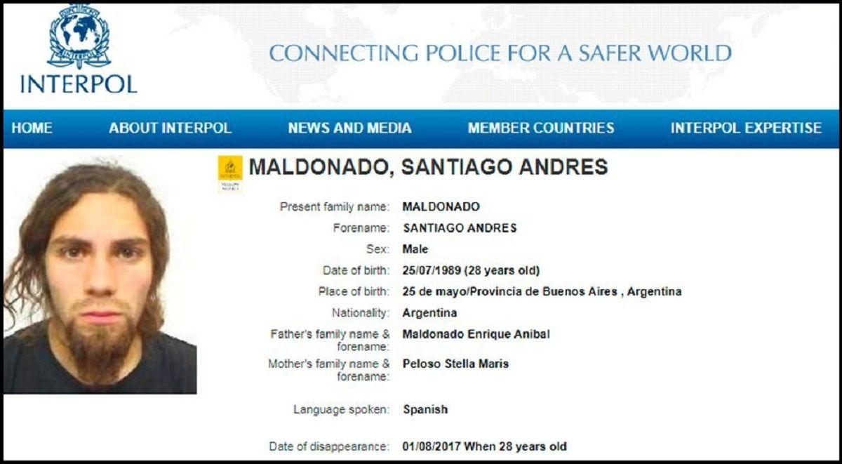 Interpol inició la búsqueda de Santiago Maldonado