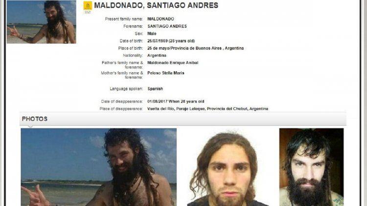 Interpol publicó fotos de Santiago Maldonado
