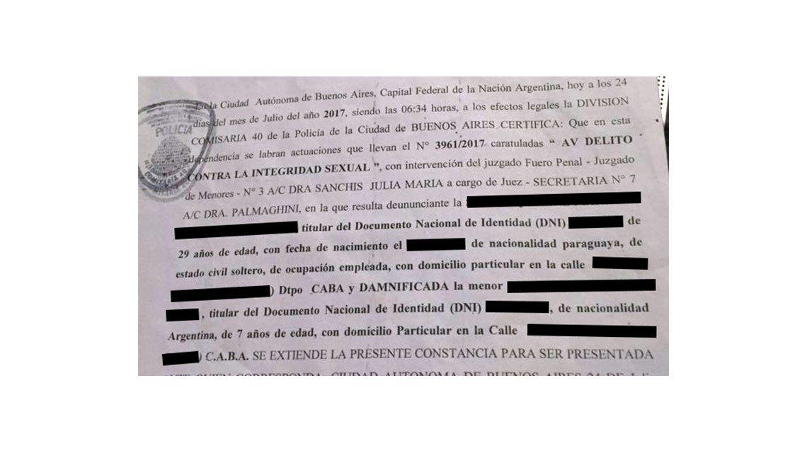 Una madre denuncia que su hija de 7 fue violada por el tío