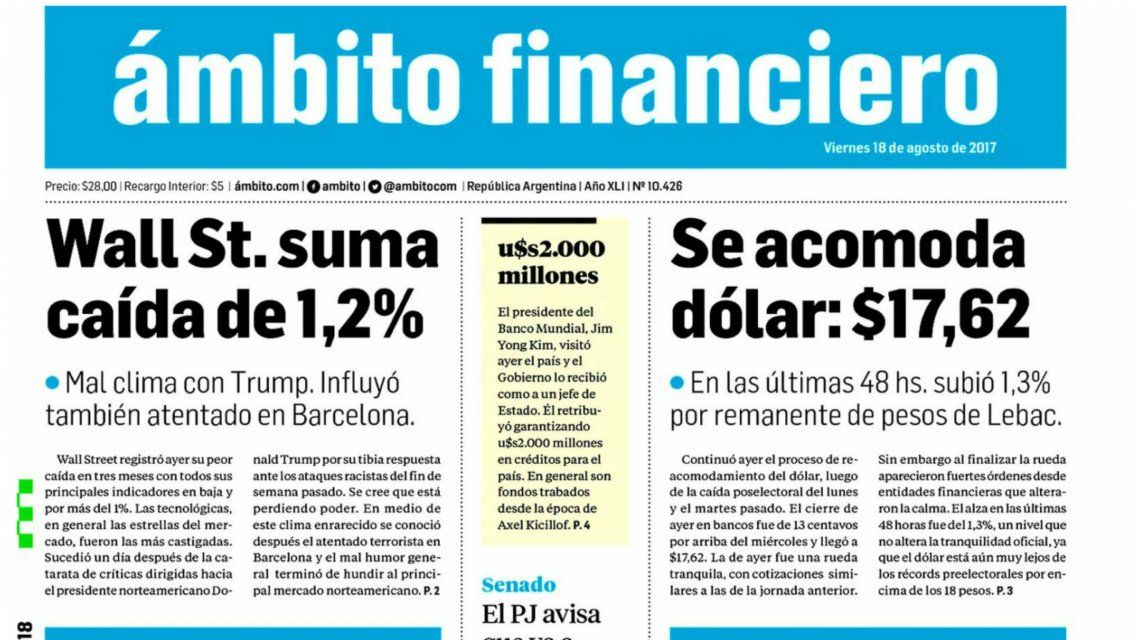 Tapas de diarios del viernes 18 de agosto de 2017