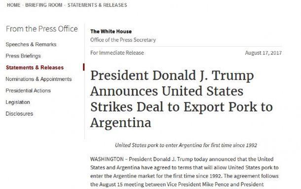 Argentina vuelve a importar cerdo de EE.UU. tras 25 años<br>