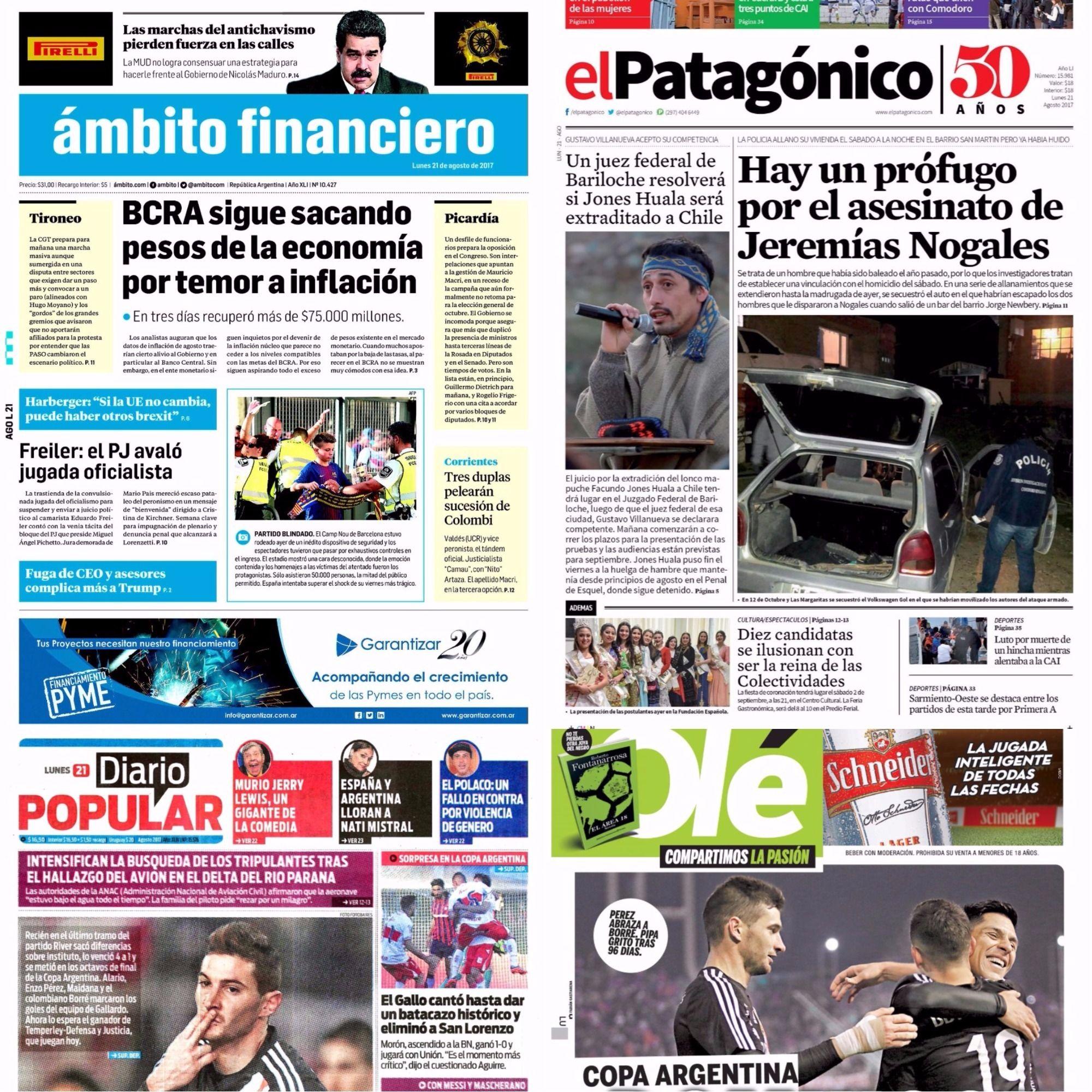 Tapas de diarios del lunes 21 de agosto de 2017