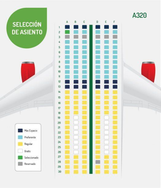 El mapa de asientos de un Airbus 320<br>