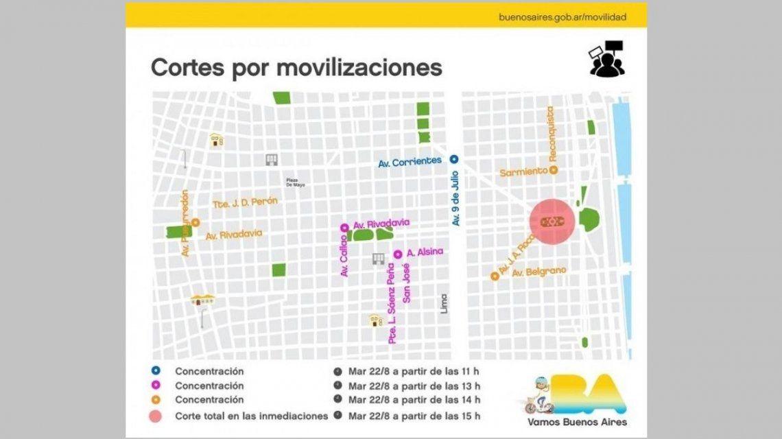 El mapa de cortes de tránsito por la movilización de la CGT