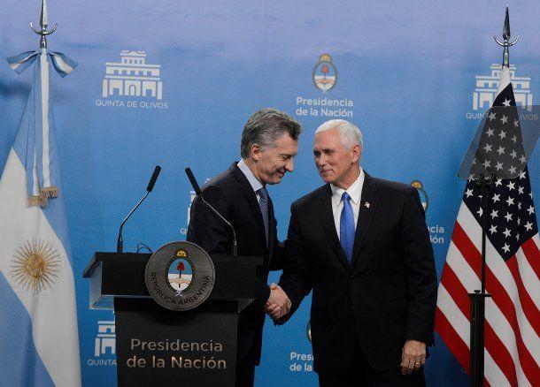 El presidente Mauricio Macri y el vicepresidente de Estados Unidos, Mike Pence,