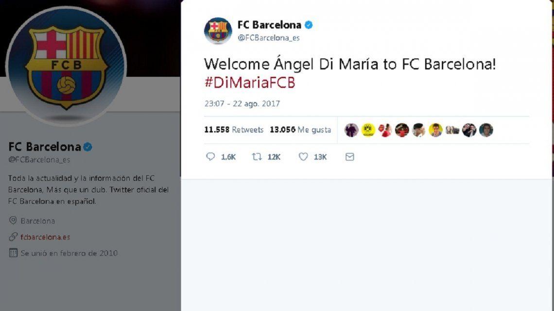 Barcelona anunció en Twitter que incorporó a Di María  era un hacker ... 44eda66d107