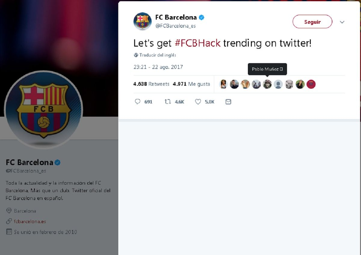 {altText(#FCBHack es el trending que querían imponer<br>,Barcelona anunció en Twitter que incorporó a Di María: era un hacker)}