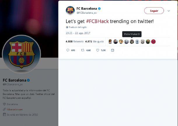 #FCBHack es el trending que querían imponer<br>