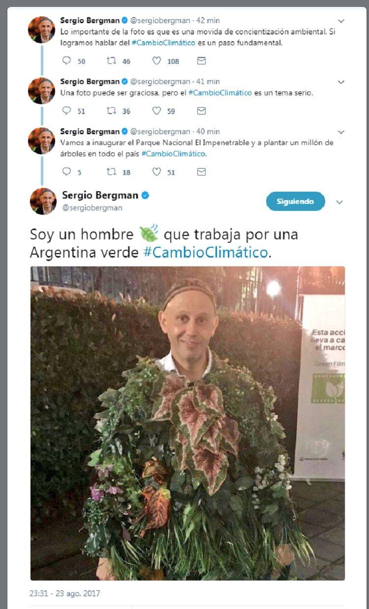 El rabino Sergio Bergman se disfrazó de árbol y estalló Twitter