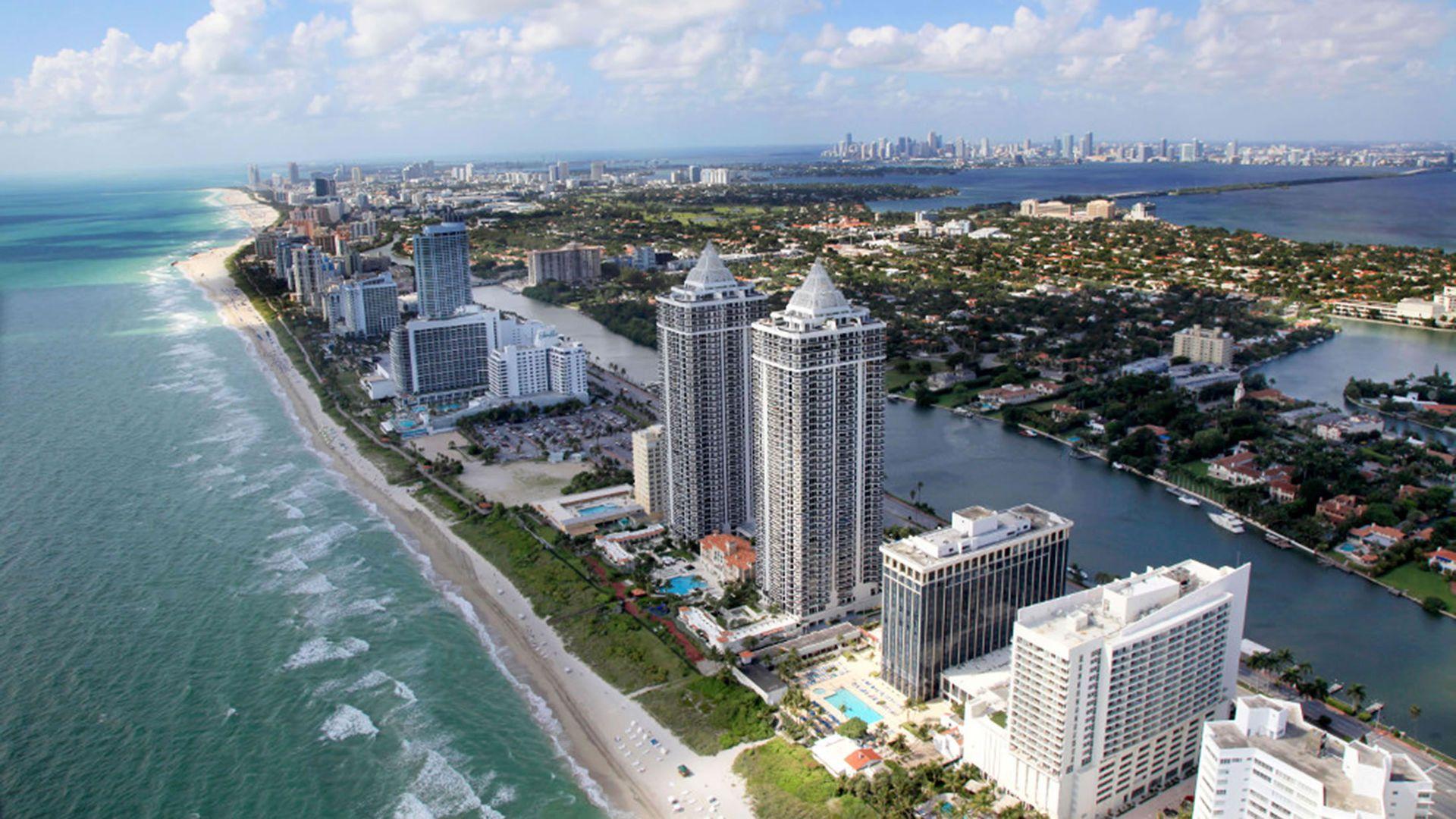 Panorámica de una de las playas de Miami