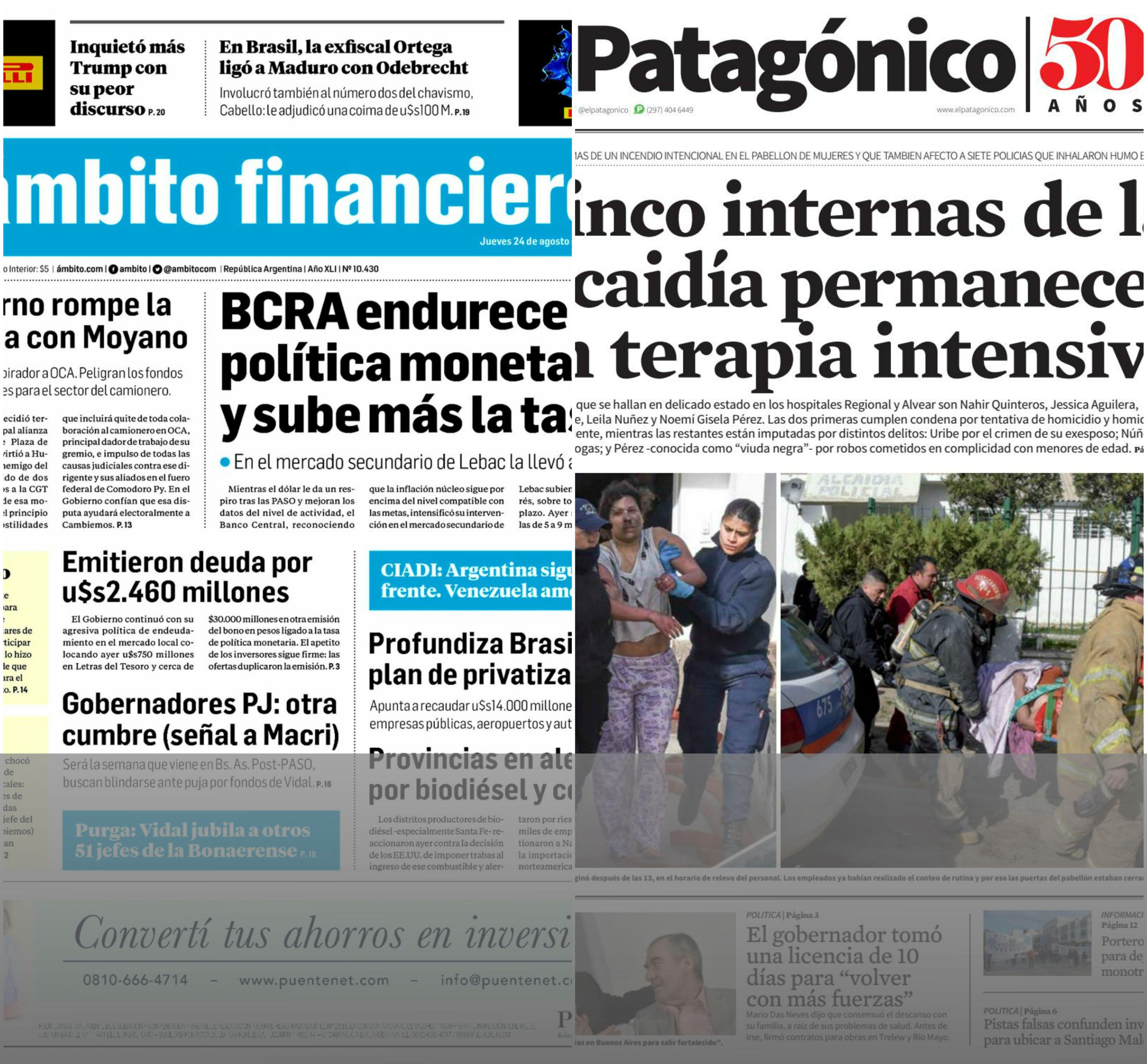 Tapas de diarios del jueves 24 de agosto de 2017