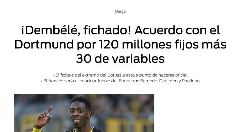Barcelona: Ousmane Dembelé está a un paso de ser refuerzo