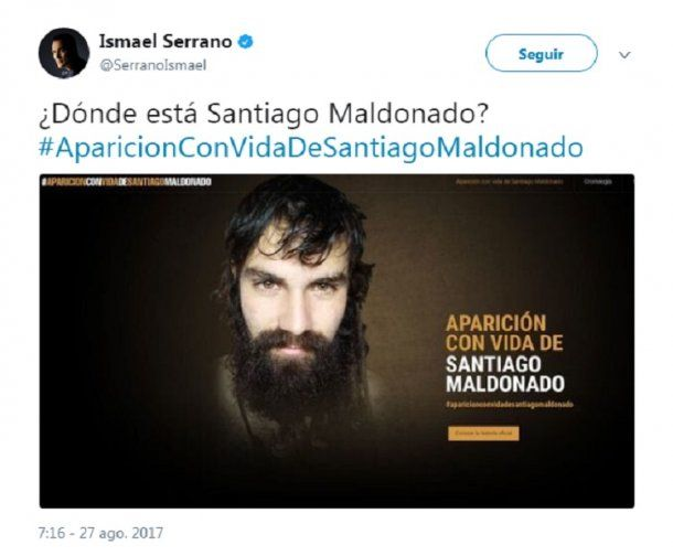 <p>Serrano se manifestó por la desaparición de Santiago Maldonado y varios lo cruzaron por twitter</p>
