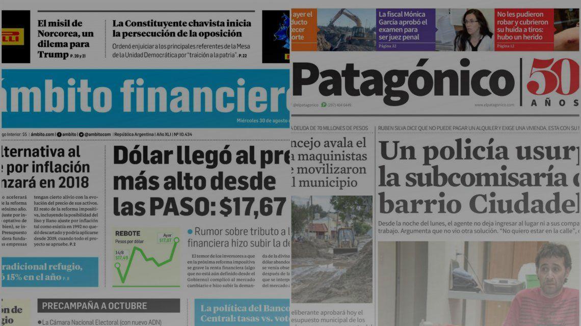 Tapas de diarios del miércoles 30 de agosto de 2017