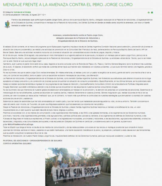 El comunicado de del obispo de Quilmes en apoyo a el padre
