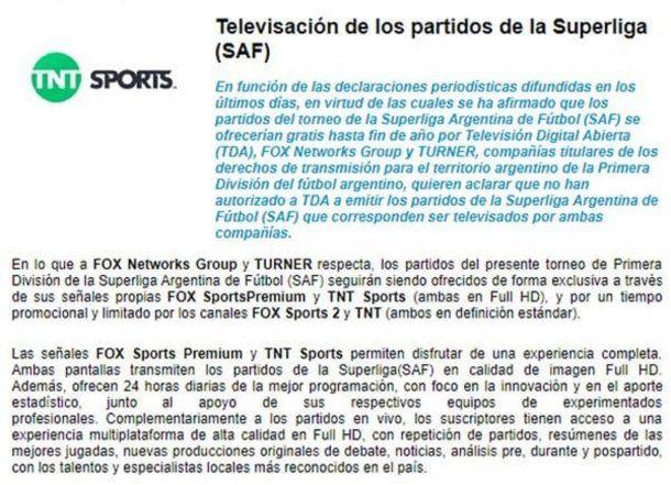Fox y Turner niegan autorización a TDA para transmitir la Superliga<br>