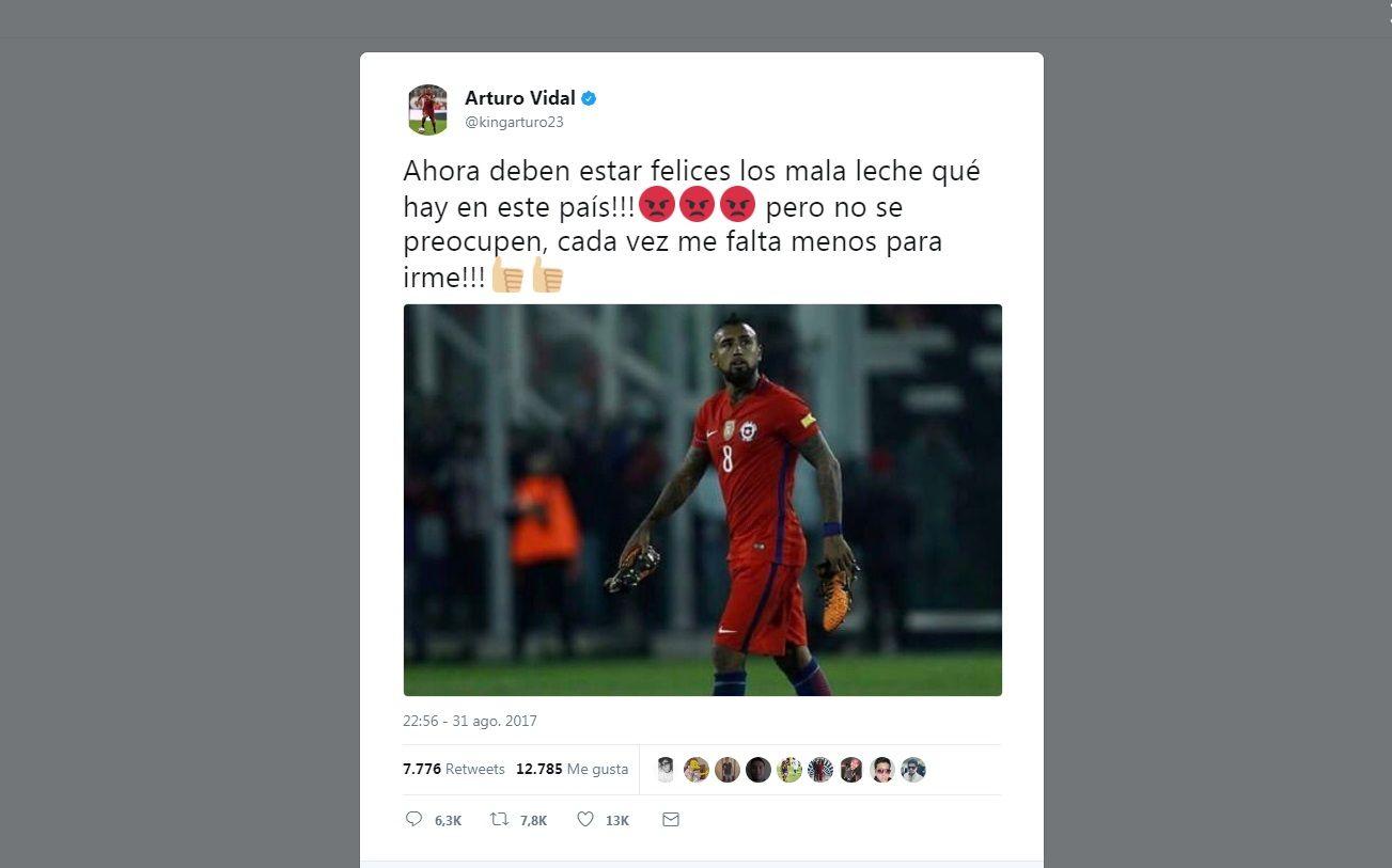 El tuit de Arturo Vidal tras su gol en contra