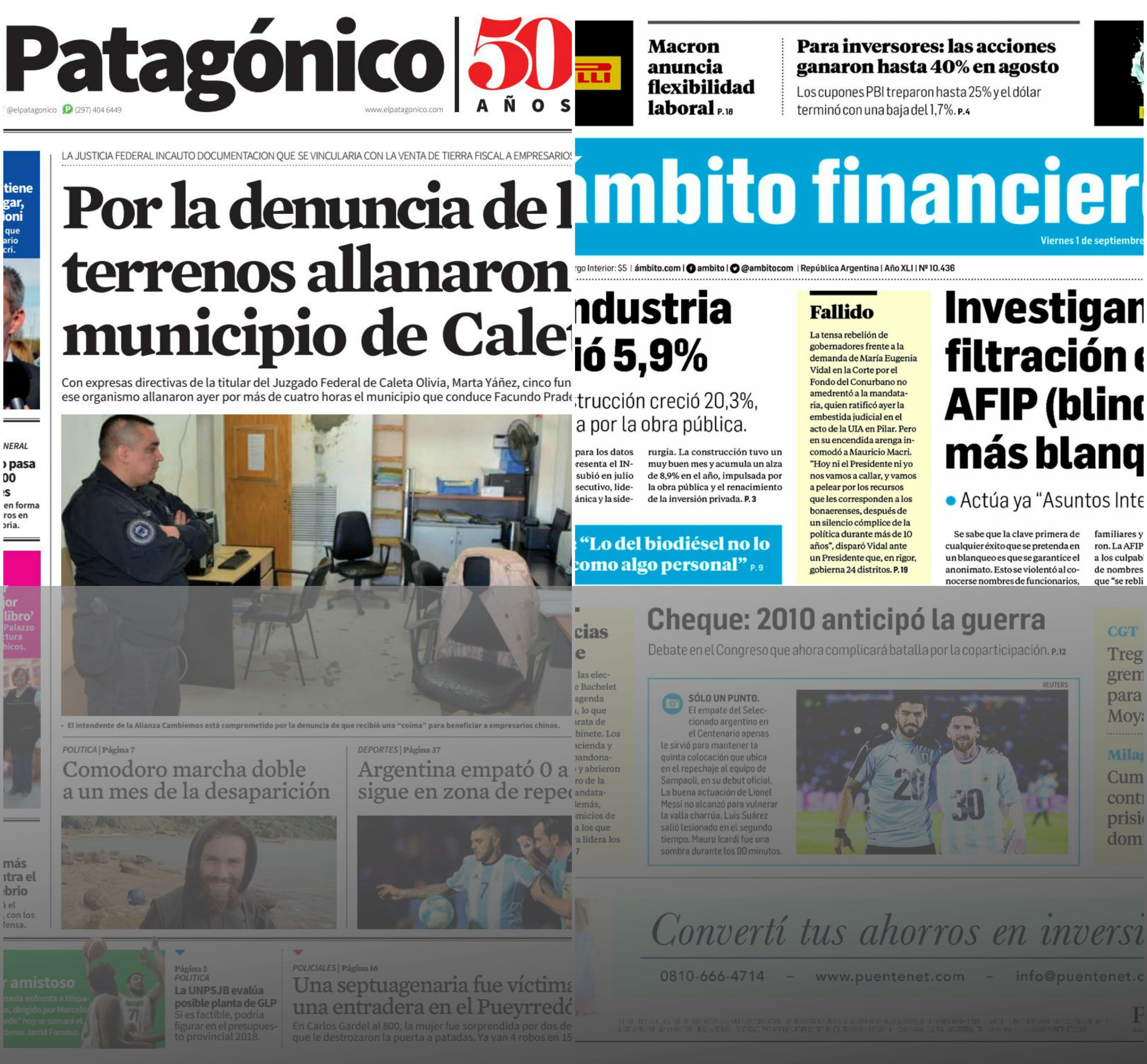 Tapas de diarios del viernes 1 de septiembre de 2017