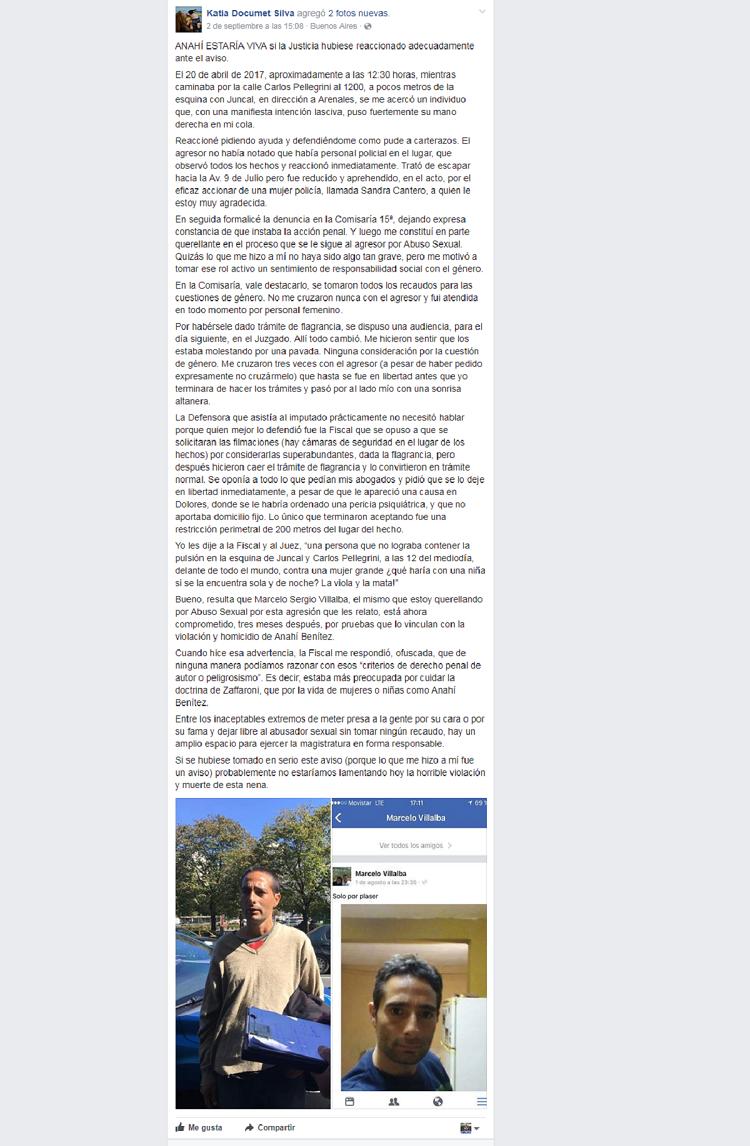 Crimen de Anahí: una mujer denuncia que fue acosada en la vía pública por Marcelo Villalba y la Justicia lo dejó libre