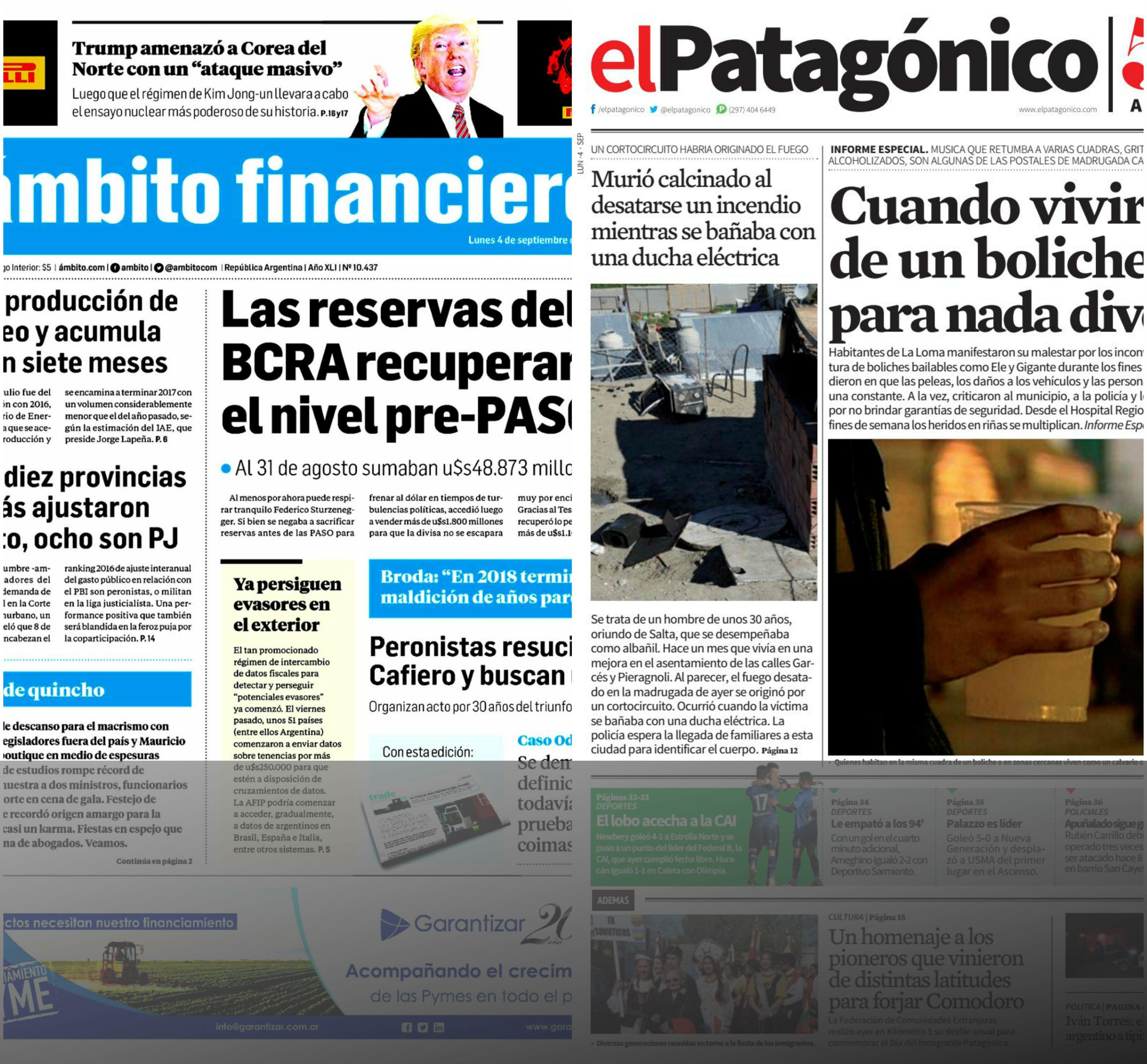 Tapas de diarios del lunes 4 de septiembre de 2017