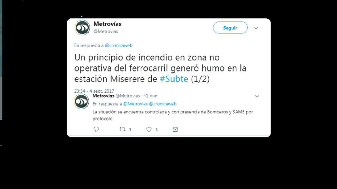 Tuits de Metrovias sobre el incidente en el subte A