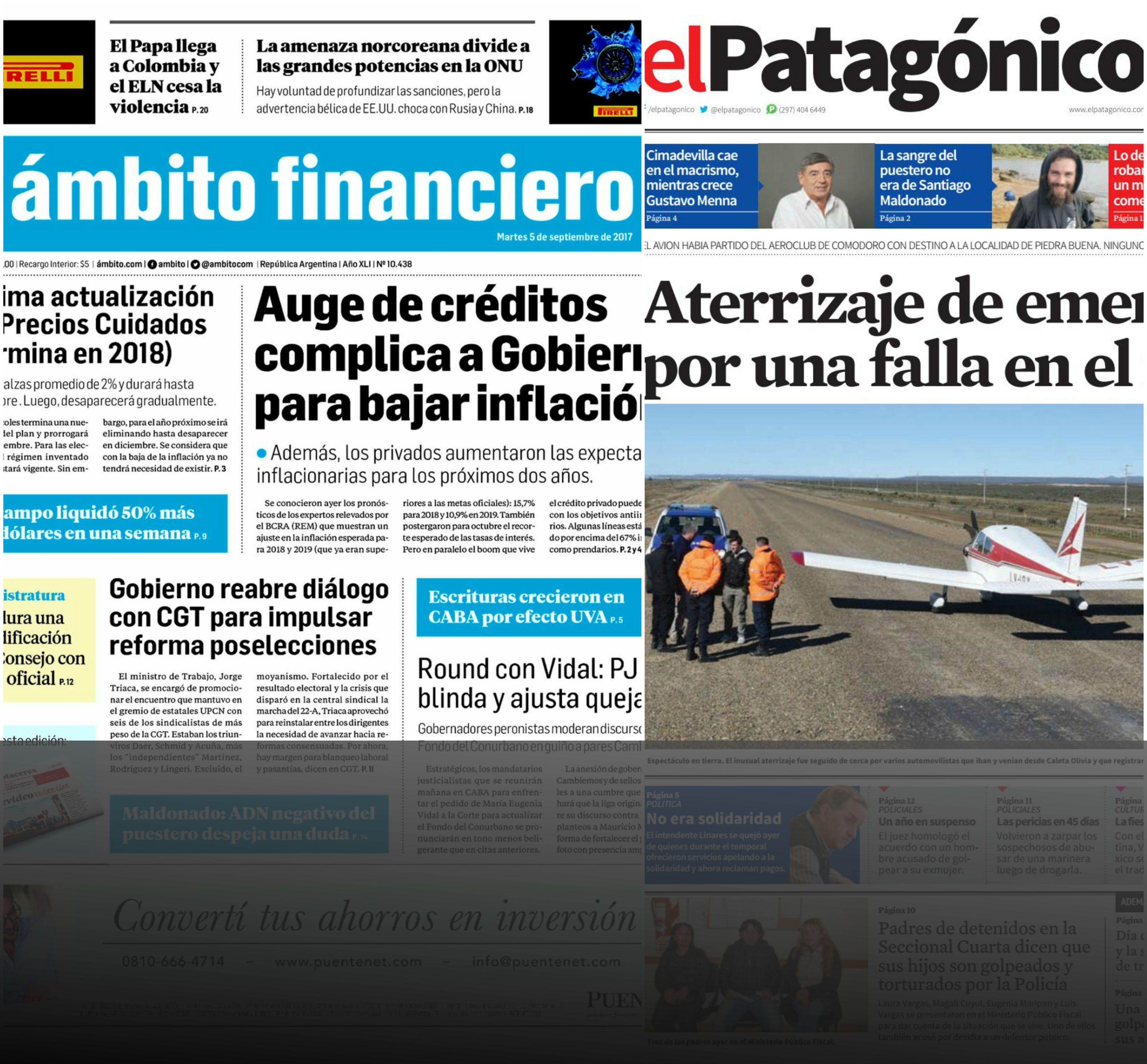 Tapas de diarios del martes 5 de septiembre de 2017