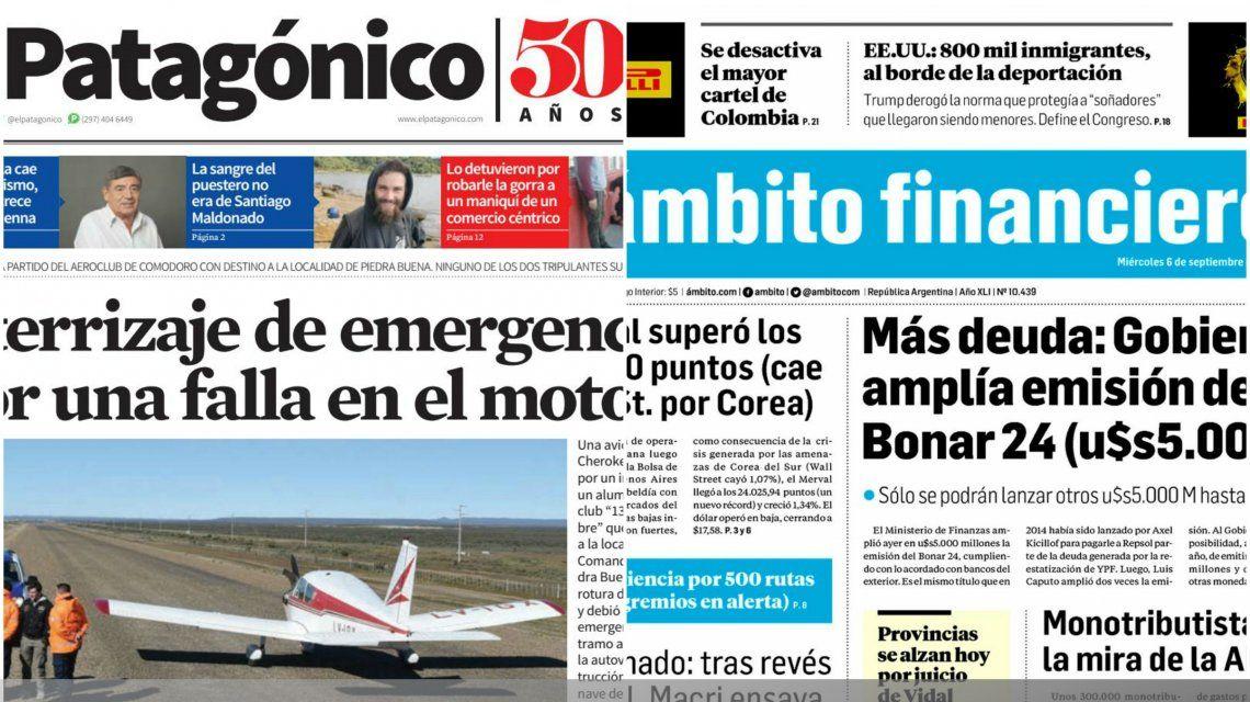 Tapas de diarios del miércoles 6 de septiembre de 2017