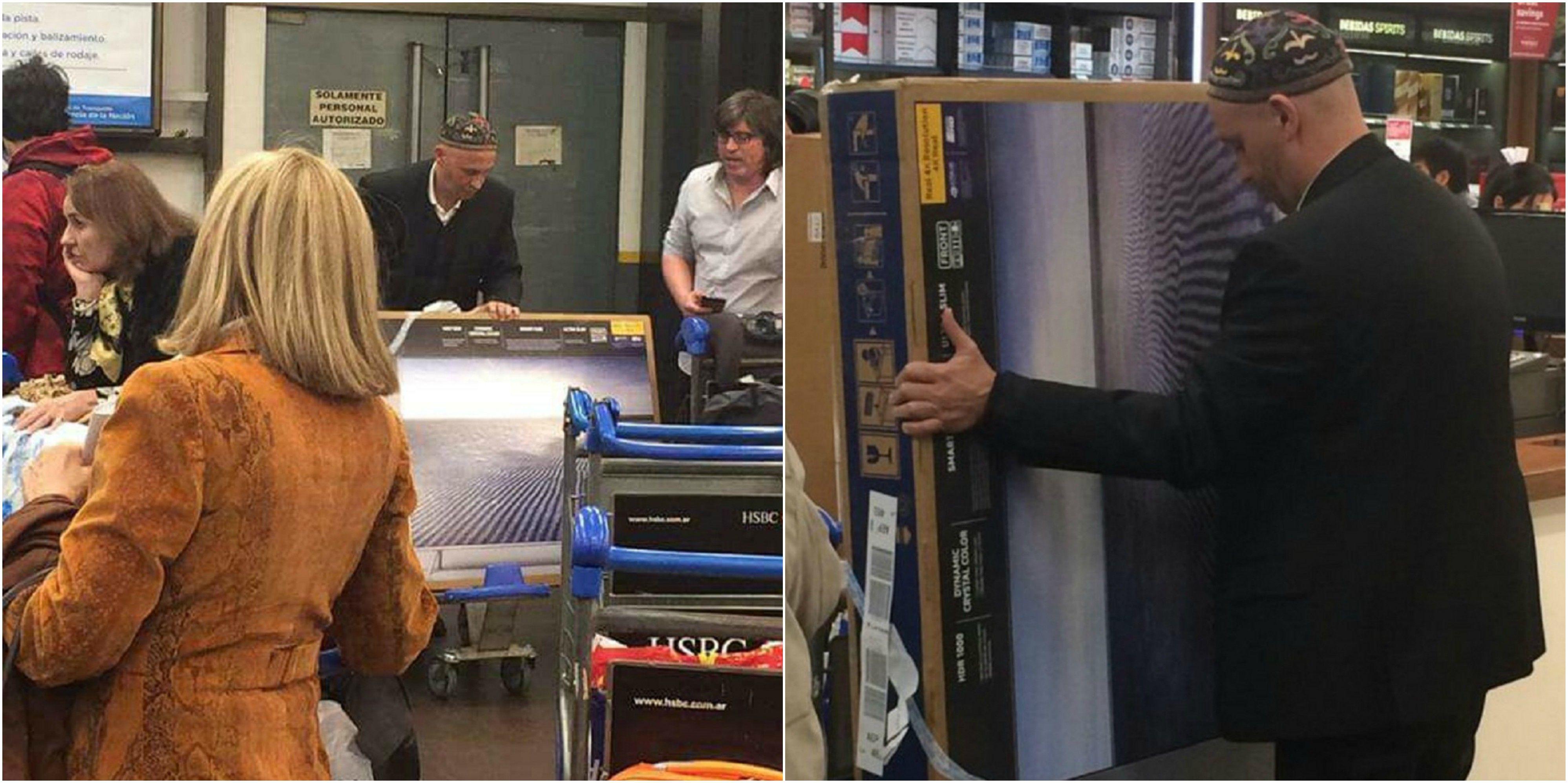 El Rabino Bergman comprando dos LED en Chile