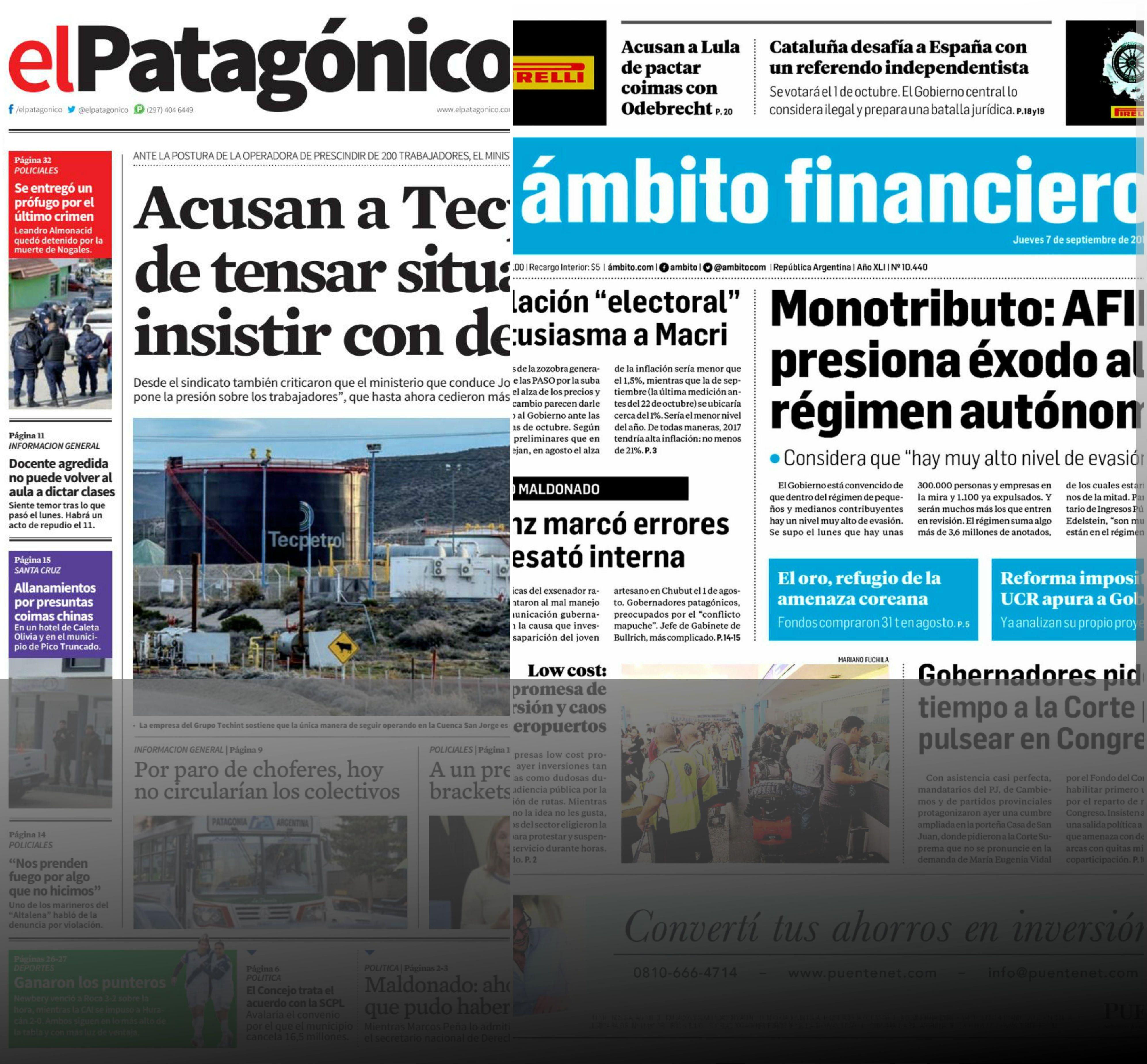 Tapas de diarios del jueves 7 de septiembre de 2017